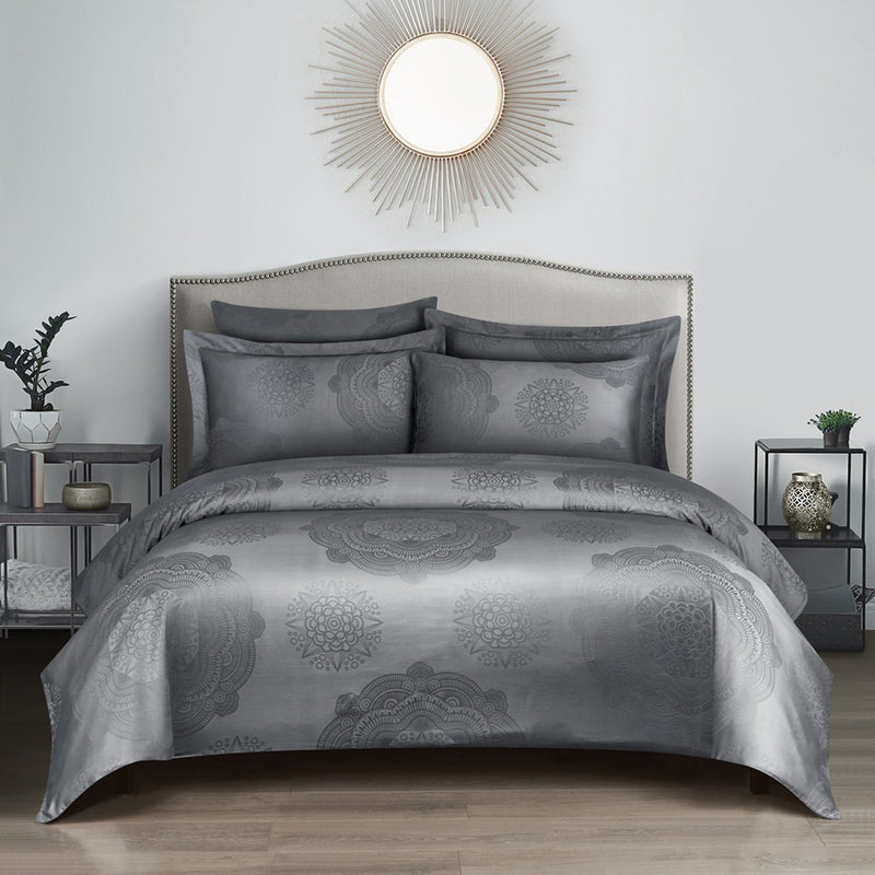 Loretta Bohemian Fitted Sheet Set in Grey