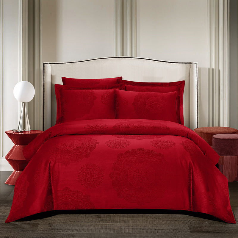 Loretta Bohemian Fitted Sheet Set in Red