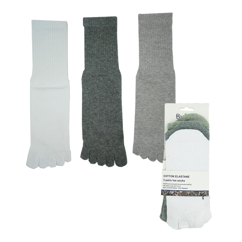 Toe Socks 3-Pairs (White / Grey / Charcoal)