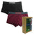 Bamboo Trunks With Elastic Waistband 2-PC (Black / Maroon)
