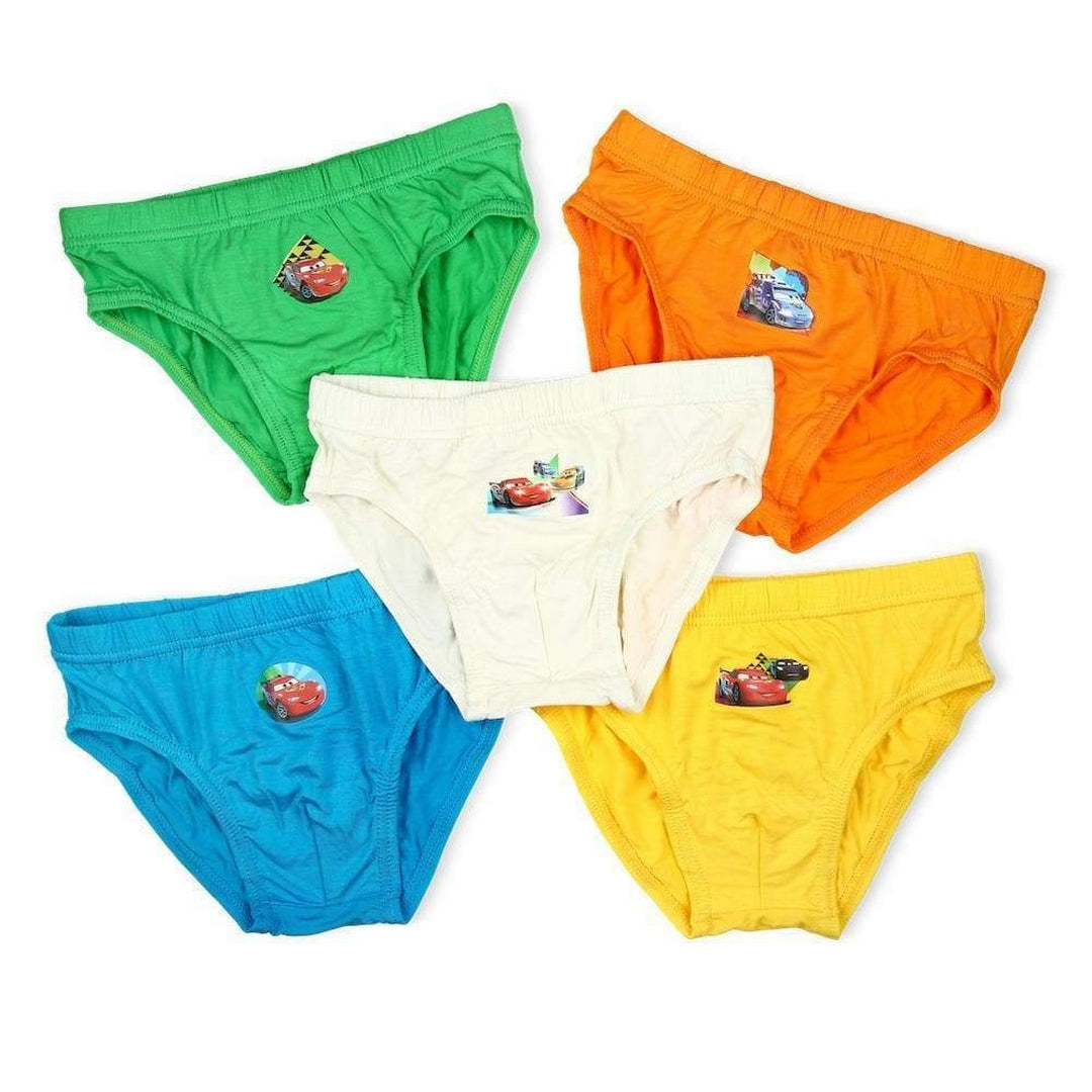 Disney Cars Boys Briefs (5-Pack Set) - Blue/Green/Orange/Yellow/White