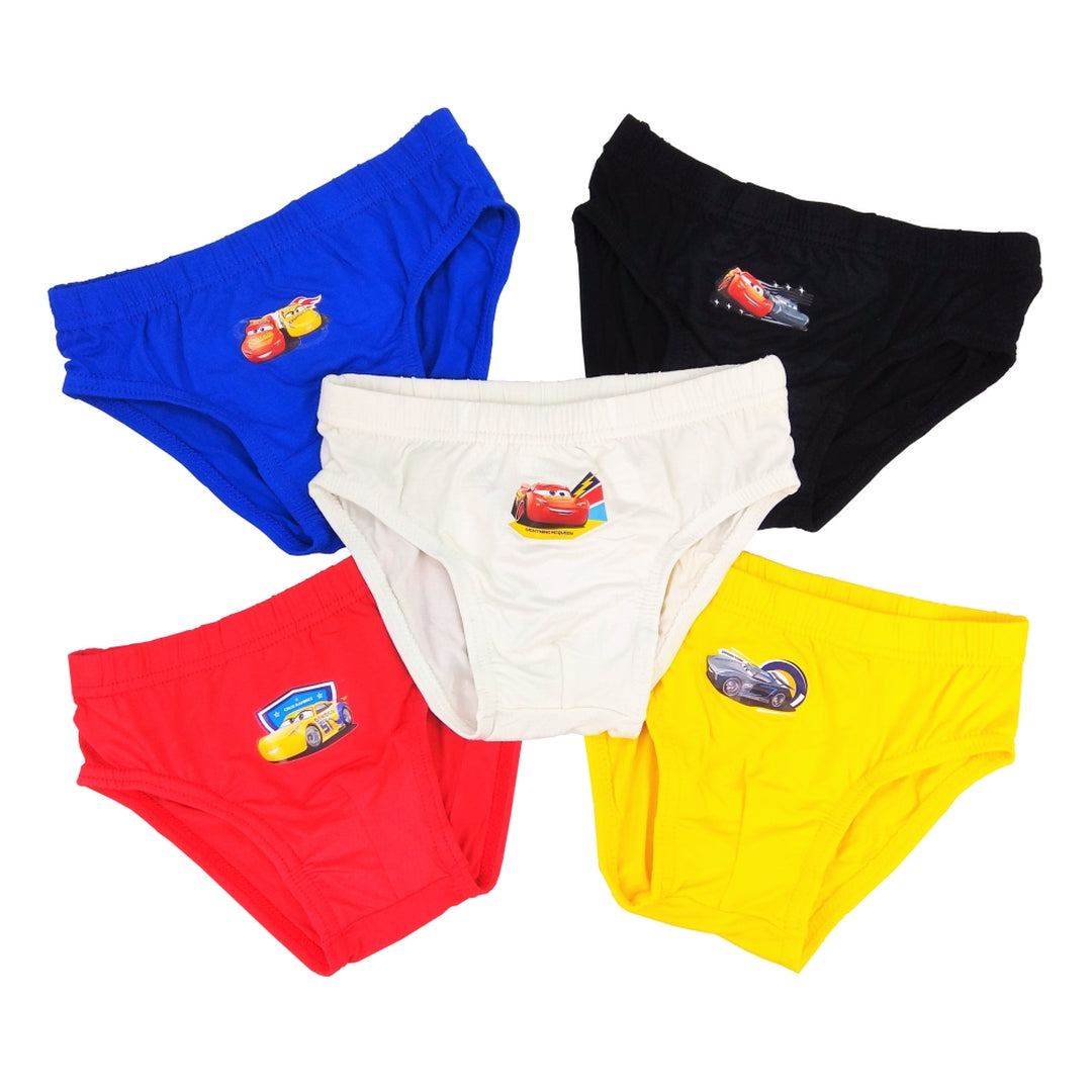 Disney Cars Boys Briefs (5-Pack Set) - Black/Blue/Red/White/Yellow