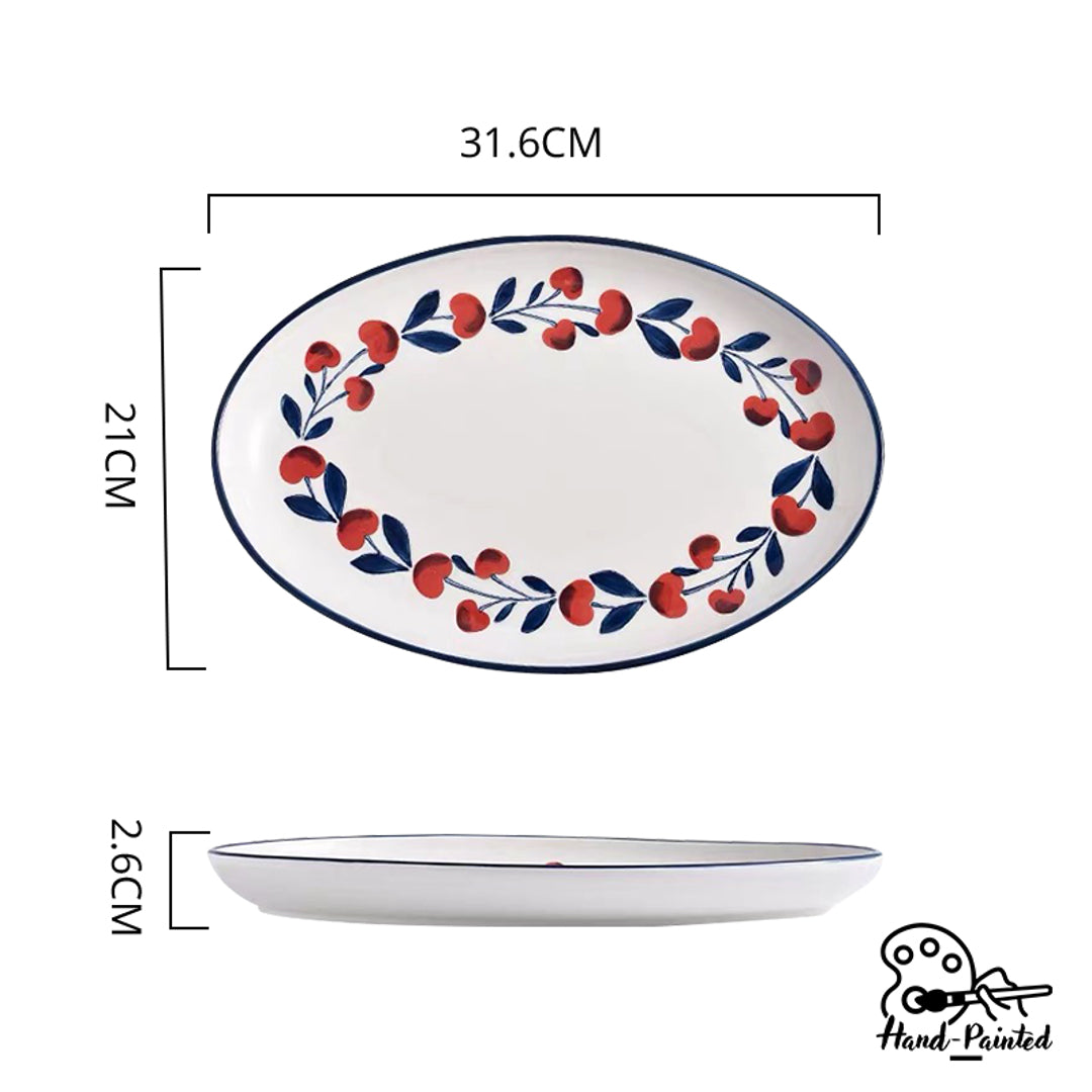 Hand Painted Oval Shaped Plate 12 inch (Holiday Berry)