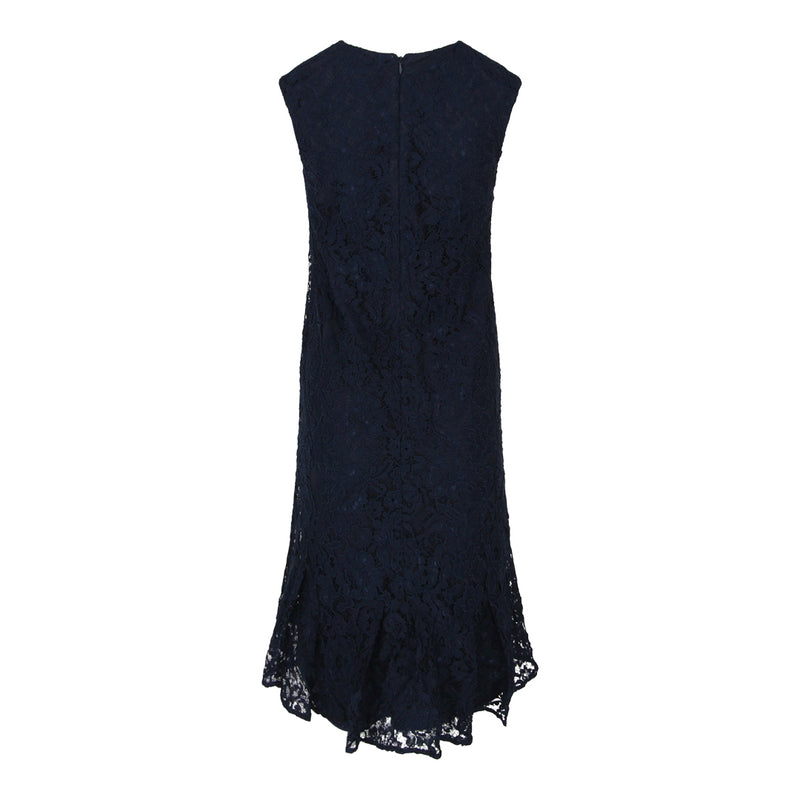 Sleeveless V-Neck Lace Dress (Dark Blue)