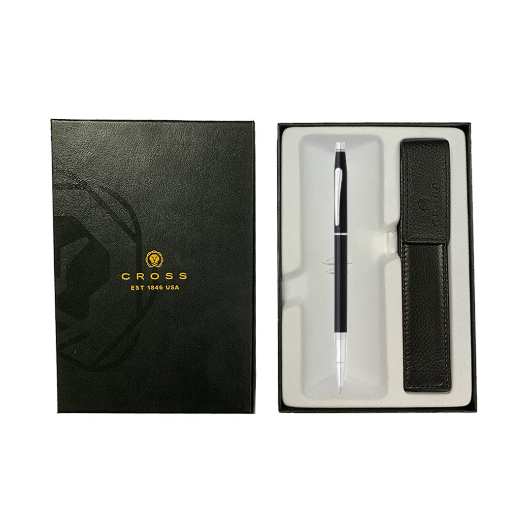 Classic Century Rollerball Pen Black + Leather Case