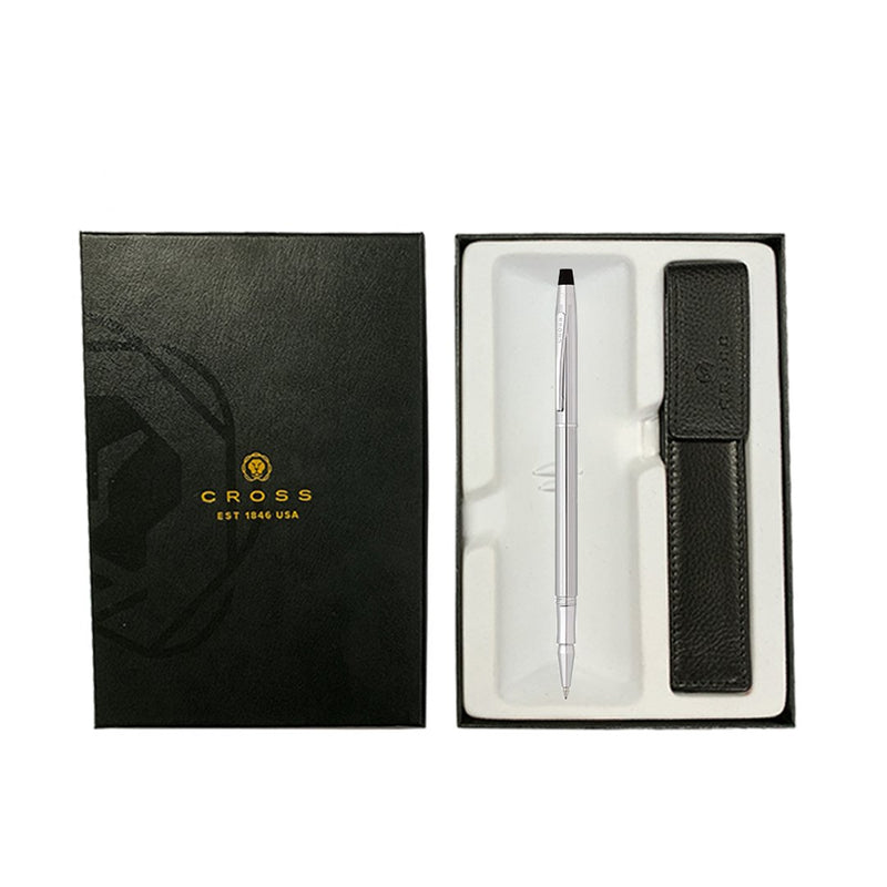 Classic Century Rollerball Pen Chrome + Leather Case