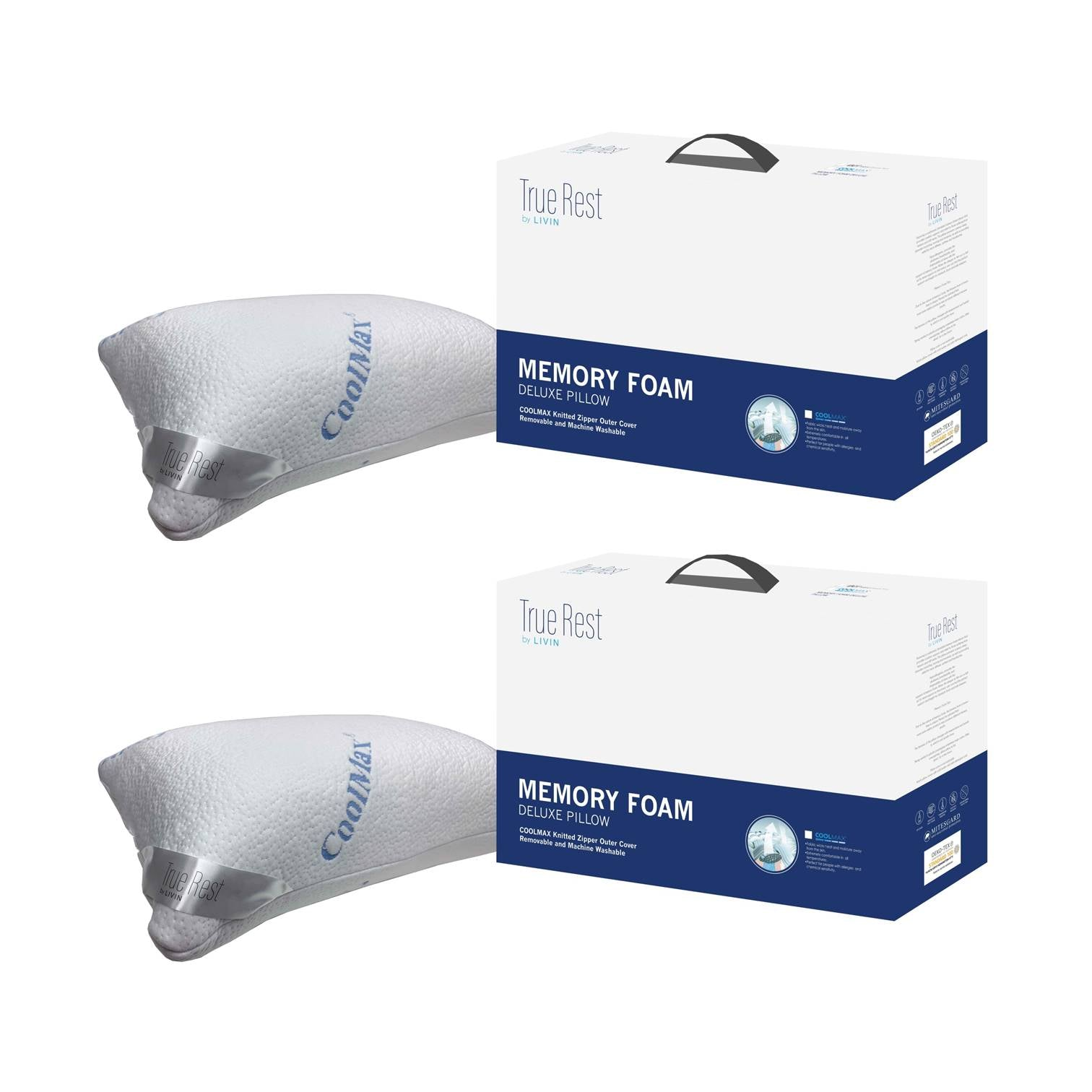 (Bundle of 2) Coolmax Memory Foam Deluxe Pillow