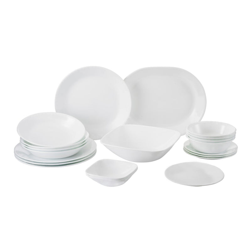 20pc Square Round Dinner Set, Winter Frost White
