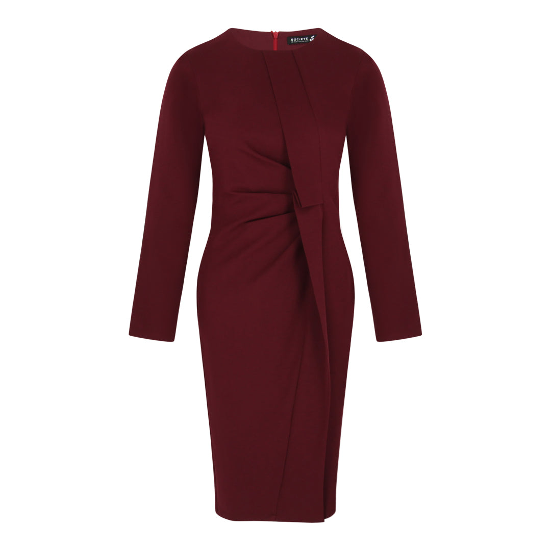 Long Sleeve Bodycon Dress with Gathers (Mulberry)