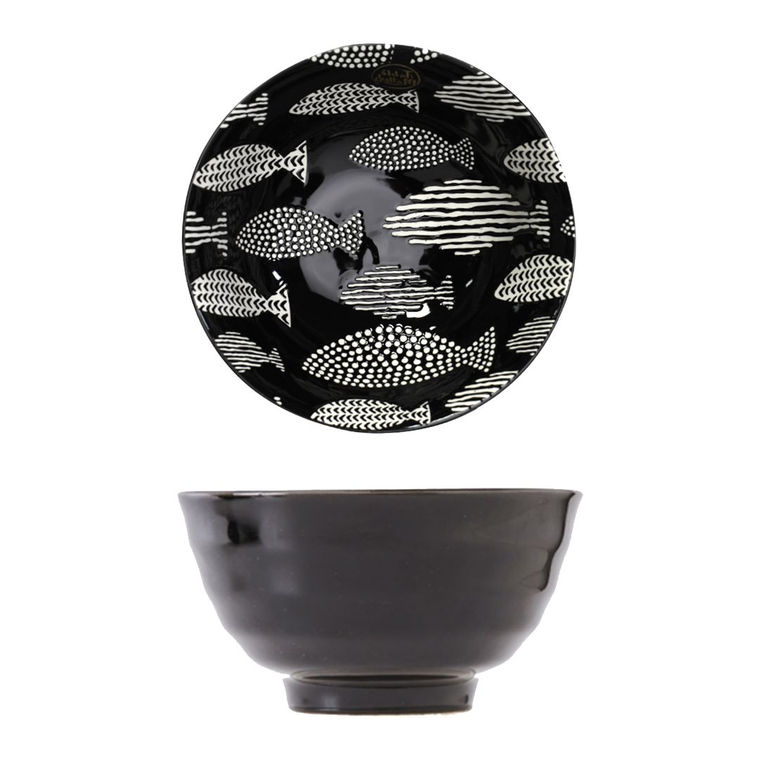 Hand Painted Threaded Bowl 8 inch (Fishes Ebony)