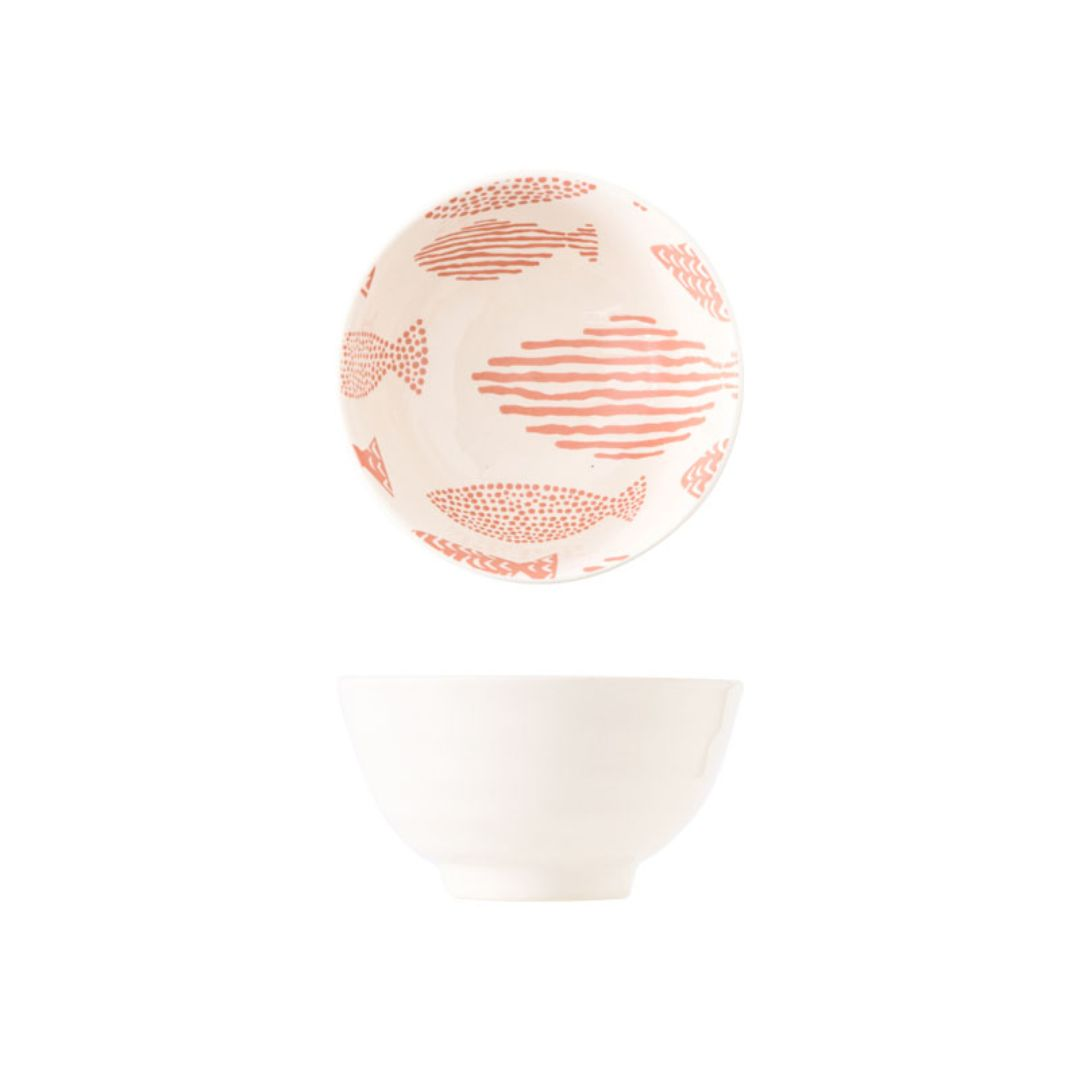 Hand Painted Threaded Bowl 4.5 inch (Fishes Pink)