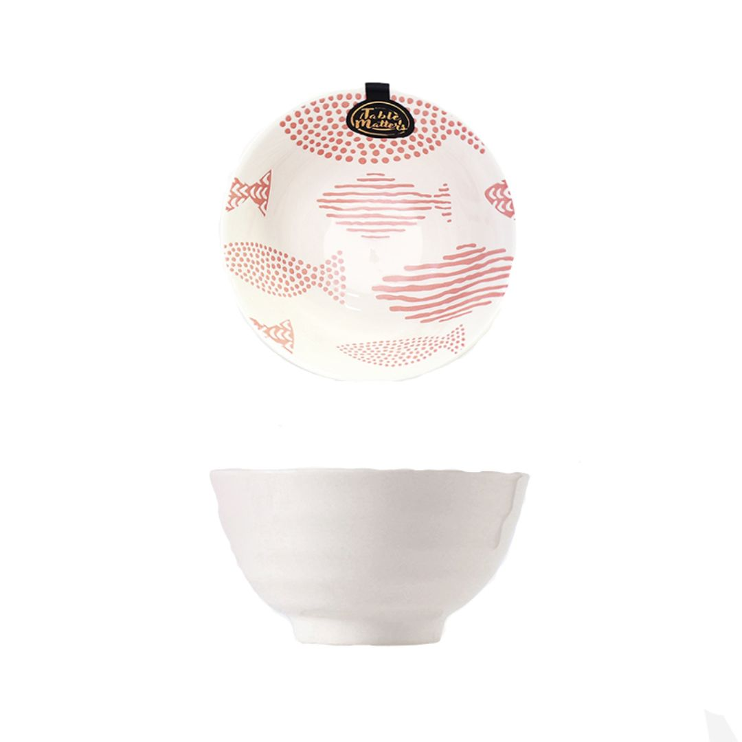 Hand Painted Threaded Bowl 5 inch (Fishes Pink)