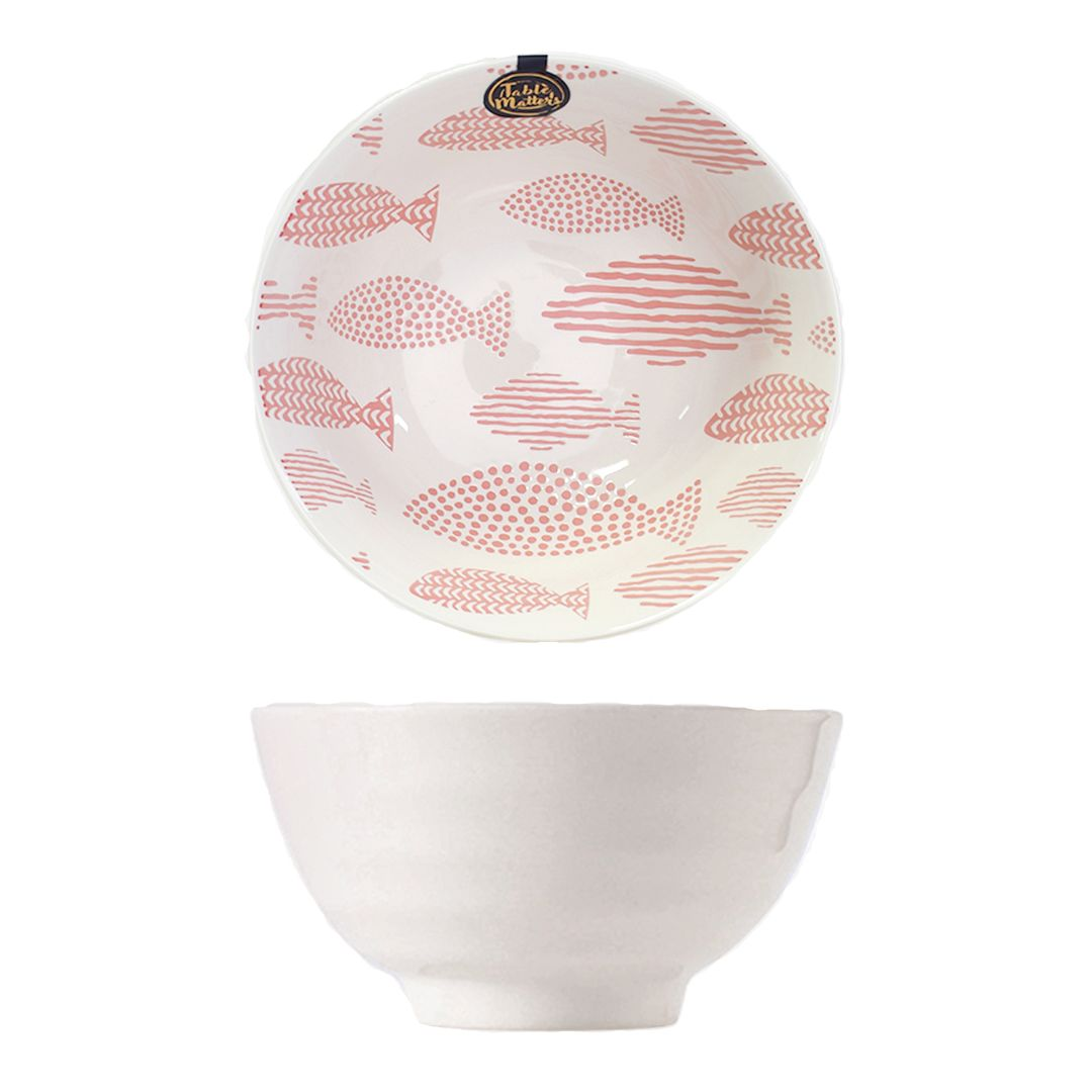 Hand Painted Threaded Bowl 8 inch (Fishes Pink)