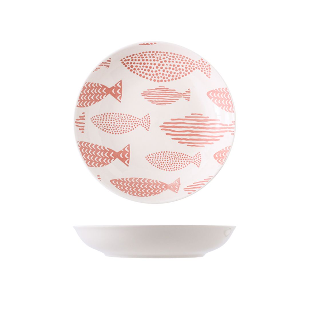 Hand Painted Coupe Plate 7 inch (Fishes Pink)
