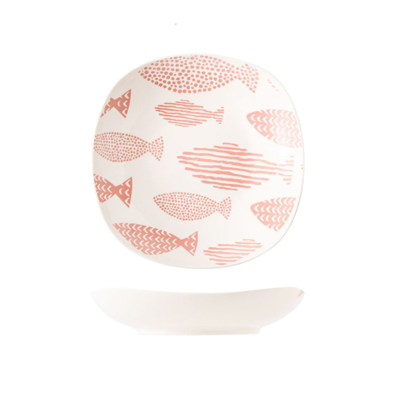 Hand Painted Square Plate 8 inch (Fishes Pink)