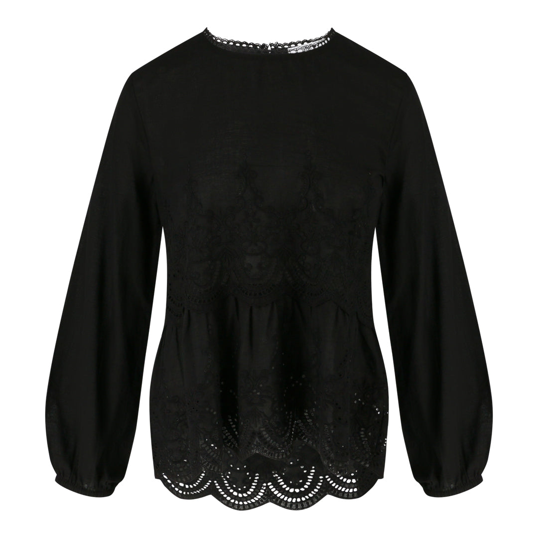 Long Sleeve Eyelet Top (Black)