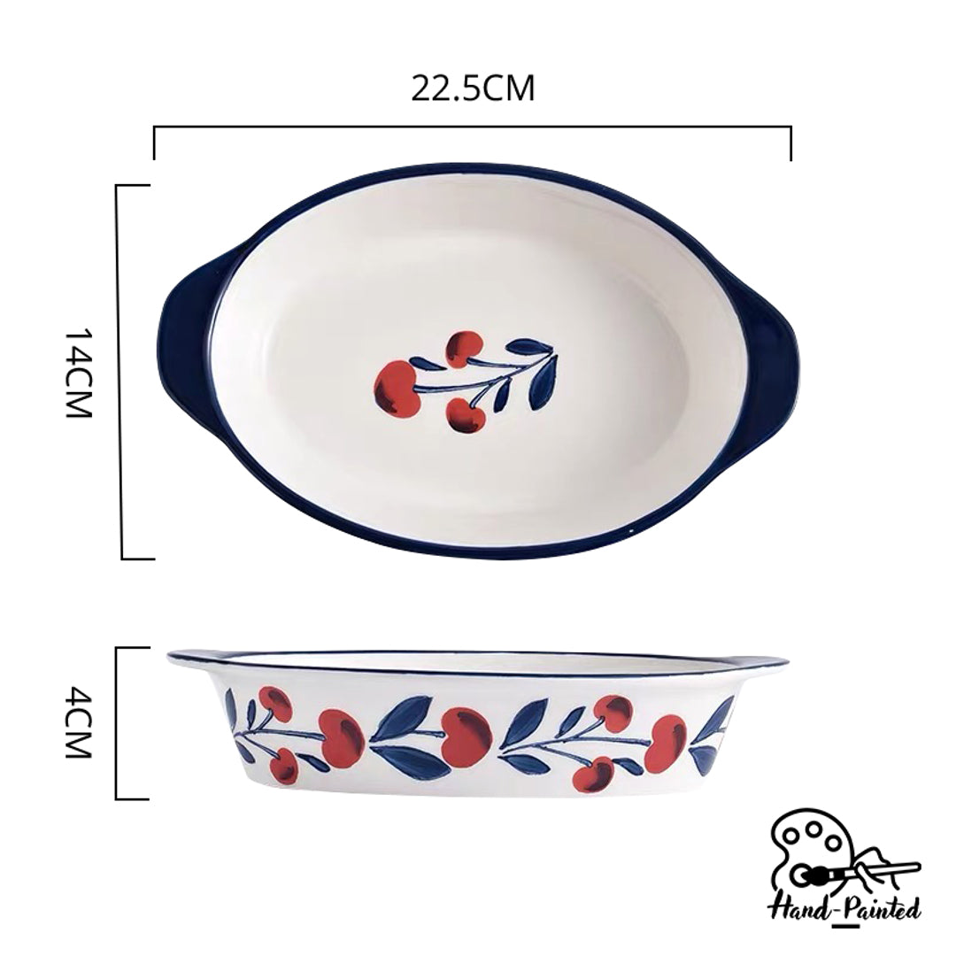 Hand Painted Baking Dish with Handles 9 inch (Holiday Berry)
