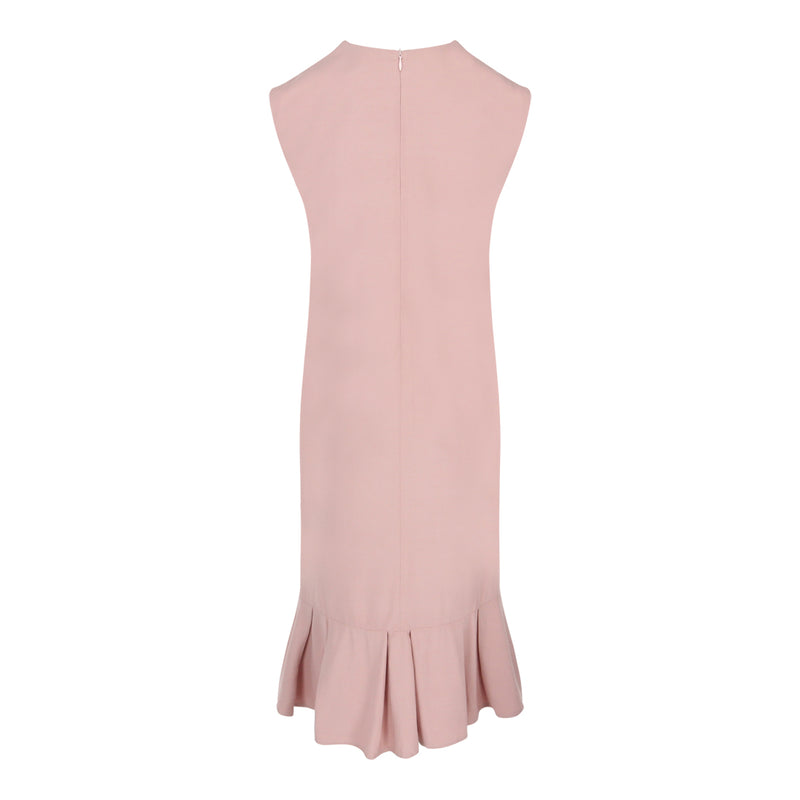 V-Neck Pleated Midi Dress (Pink)