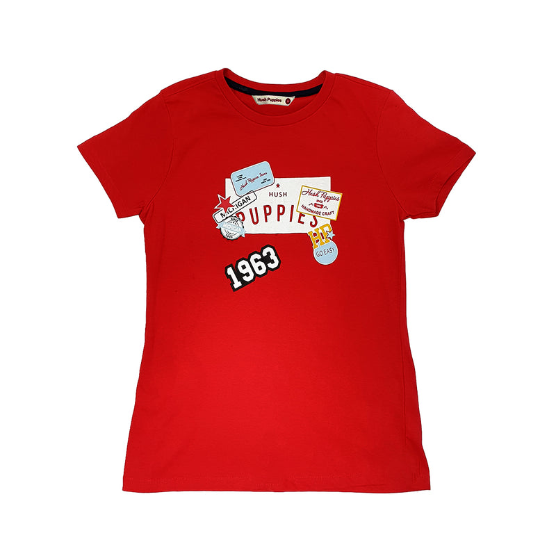 ONLINE EXCLUSIVE | Ladies Round Neck Tee with Print (Red)