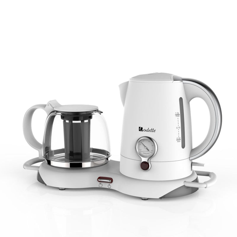 1.0L Electric Kettle with Keep Warm Tea Tray (White)