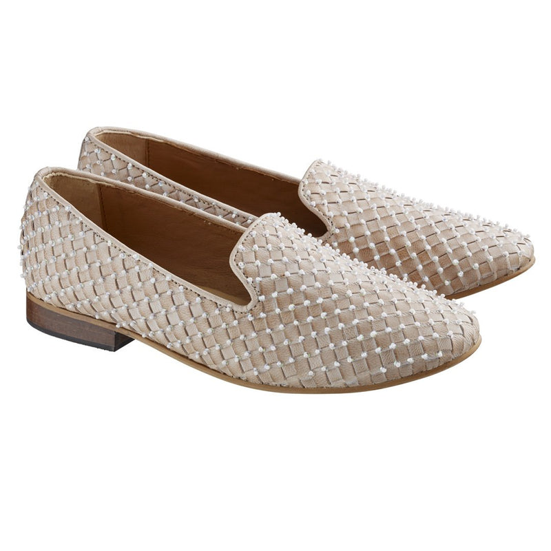 Loafer Flats with Beads Embellishments