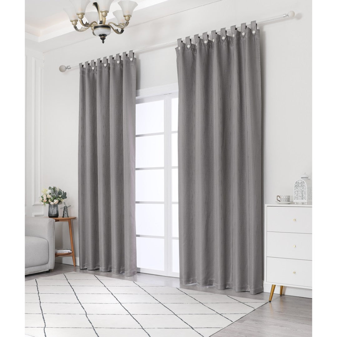 Jacquard Half Length Curtain in Ash (160x170cm)