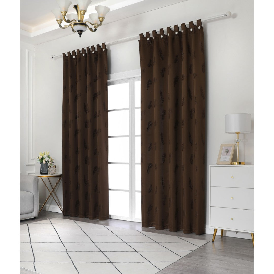Jacquard Half Length Curtain in Brown (160x170cm)