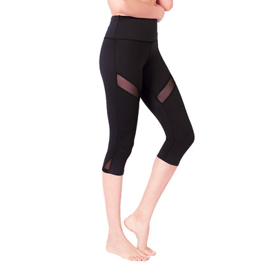 Limitless Striped Mesh 3/4 Capris (with Keeperband®) in Black