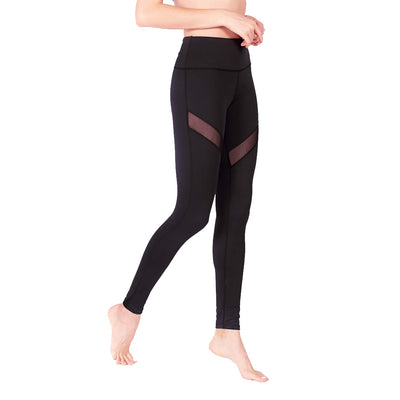 Limitless Striped Mesh Leggings (with Keeperband®) in Black