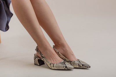 Python-effect Pumps with Slingback Strap