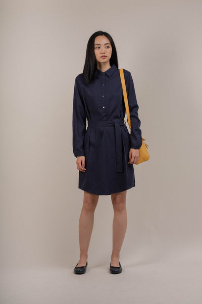 Long Sleeve Tunic With Belt in Navy