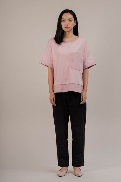 Short Sleeve Boxy Top With Patch Pocket in Blush
