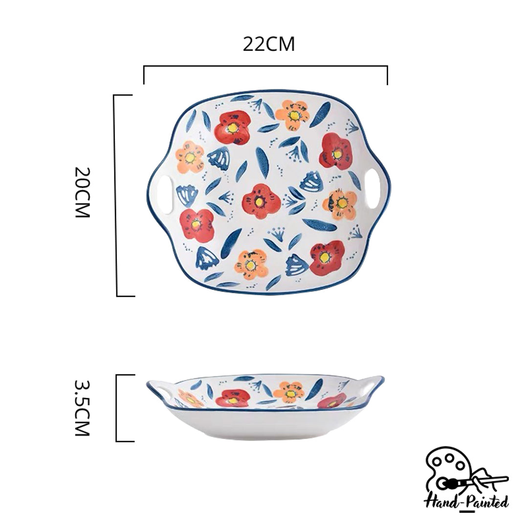 Hand Painted Square Plate with Handles 9 inch (Poppy Blossom)