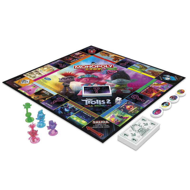 Monopoly Junior Game - DreamWorks Trolls World Tour Edition