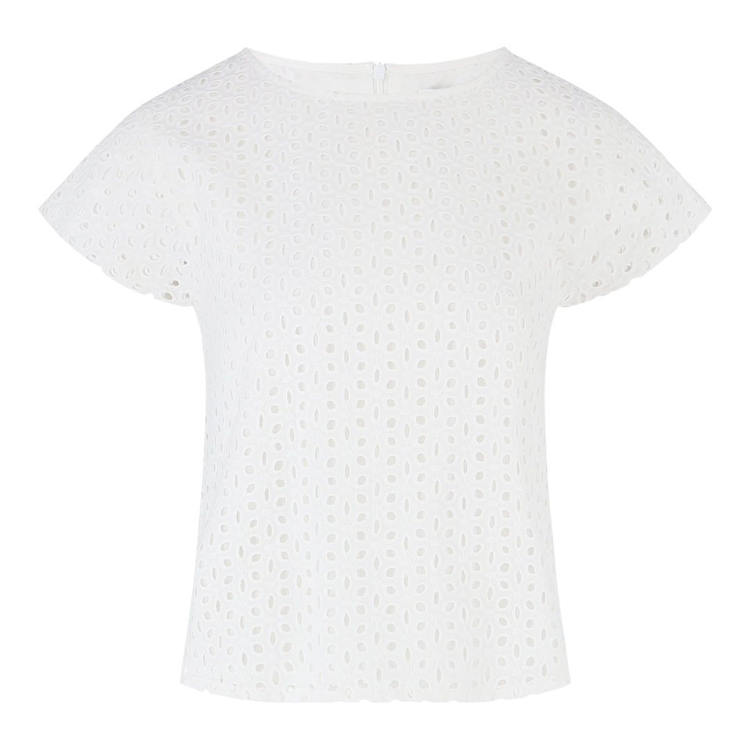 Short Sleeve Eyelet Top (White)