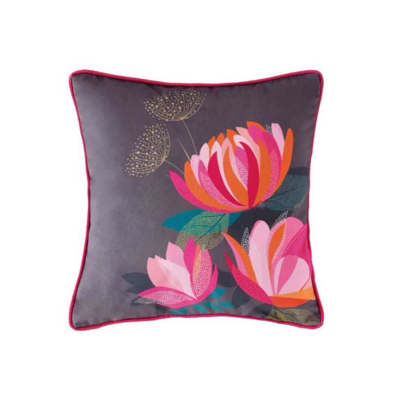 Peony Petals - Feather Filled Cushion 30cm X 30cm (Grey)