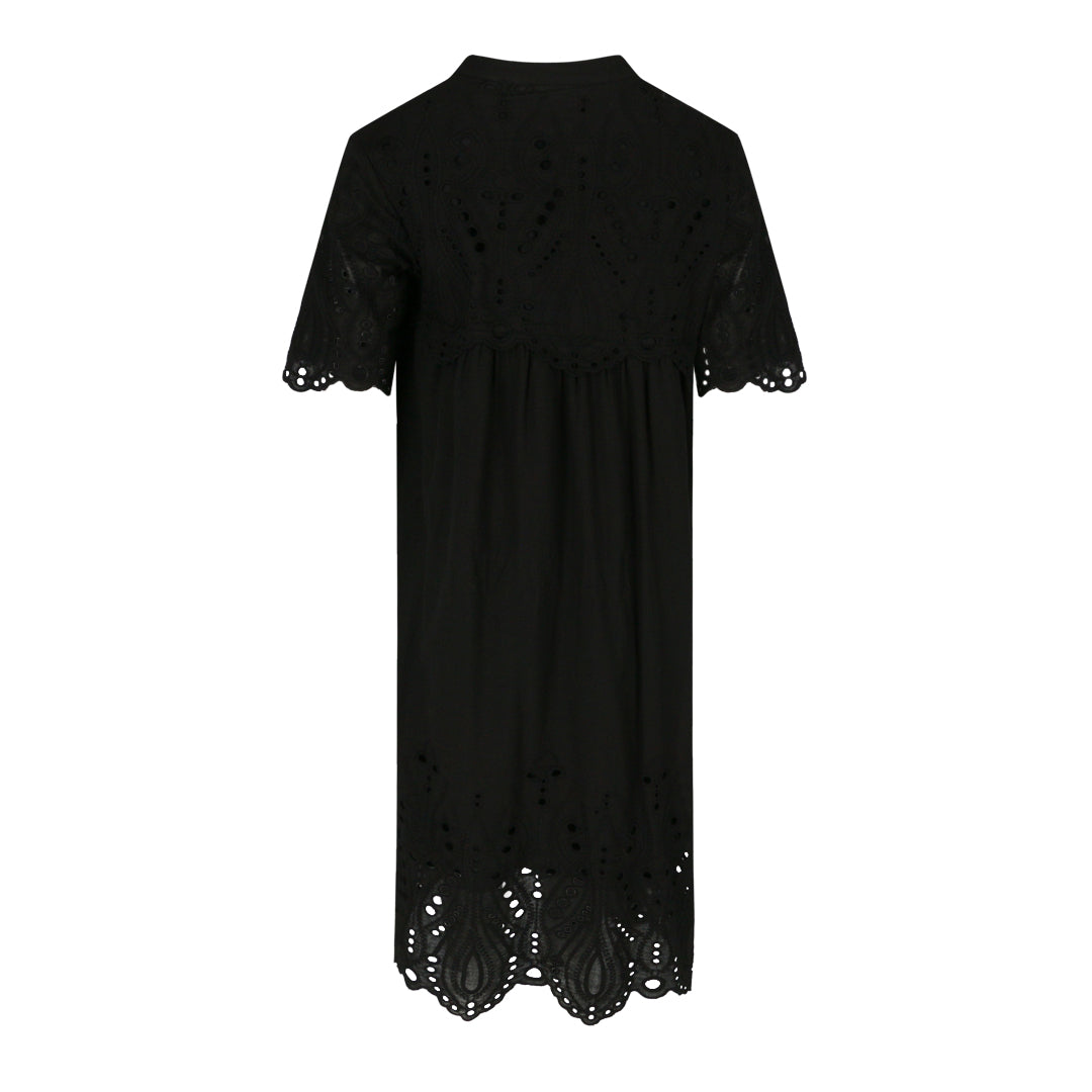 Eyelet Loose Fit Dress (Black)