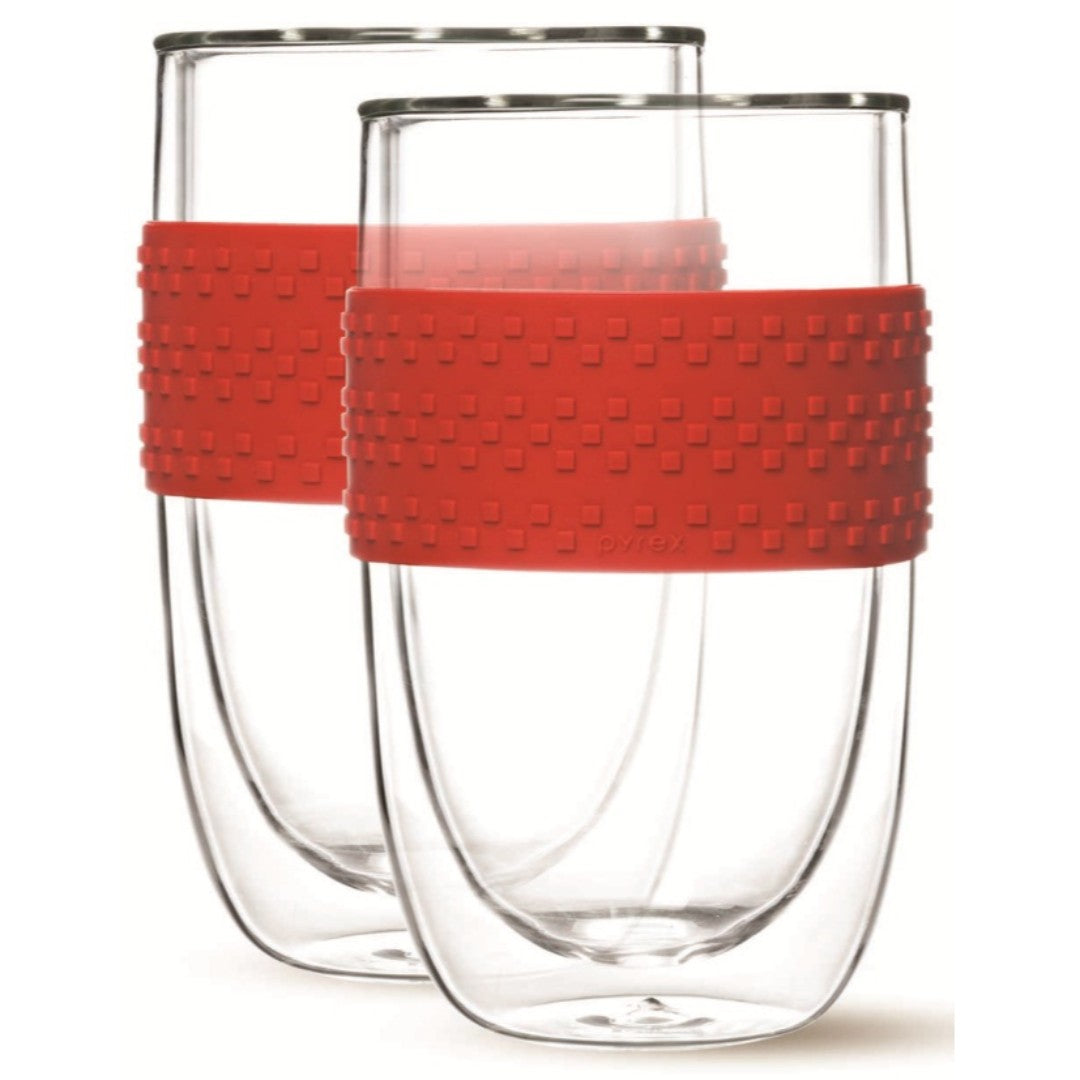 2pc 400ml Double Wall Glass with Red Silicone