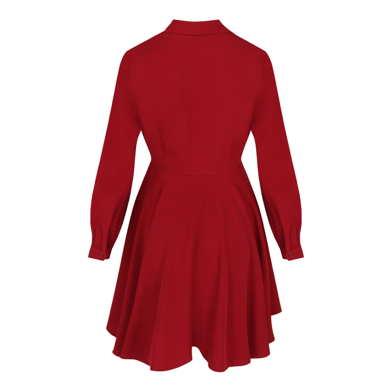 Long Sleeve Wrap Tie Dress (Dark Red)