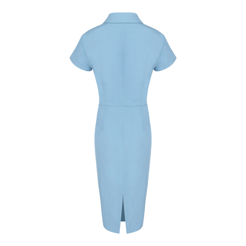 Cap Sleeve Wrap Tie Dress (Blue)