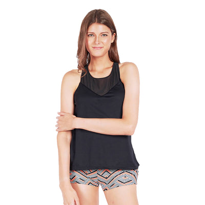 Rocking with Mesh Tank Top in Black