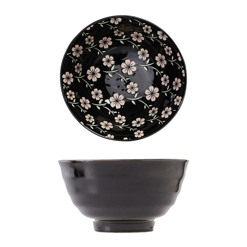 Hand Painted Threaded Bowl 8 inch (Sakura Ebony)