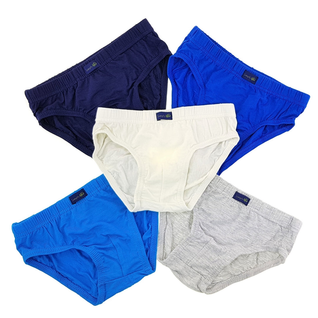 Boys Plain Briefs (5-Pack Set) - Blue/Grey/White
