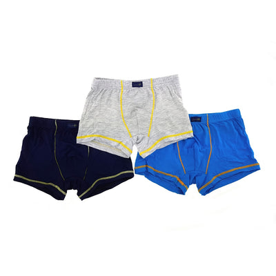 Boys Boxer Briefs (3-Pack Set) - Black/Blue/Grey