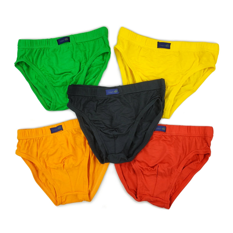 Boys Briefs (5-Pack Set) -  Black/Green/Orange/Red/Yellow