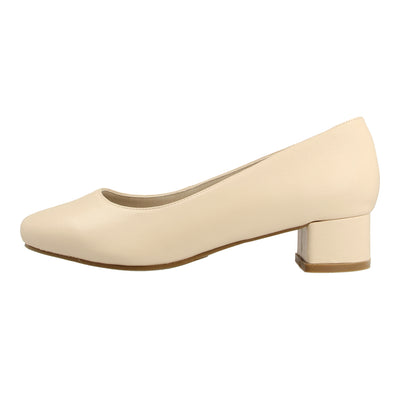 Almond Toe Leather Pumps with Block Heel