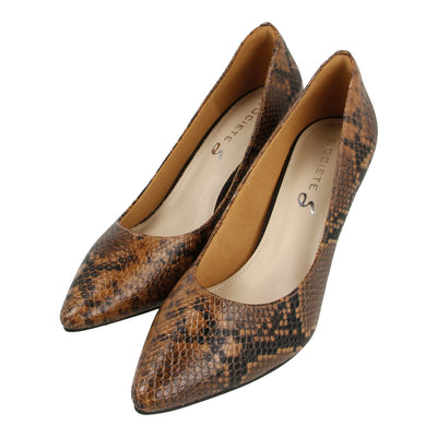 Point Toe Python-effect Pumps