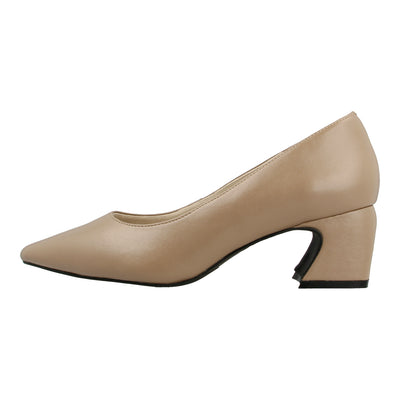 Point Toe Leather Pumps with Block Heel