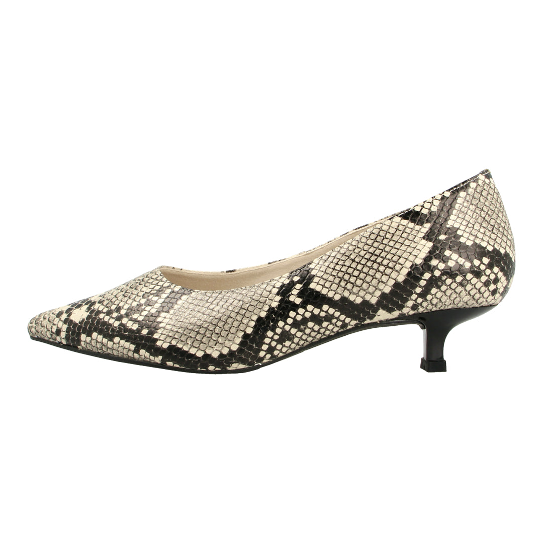 Almond Toe Python-effect Pumps