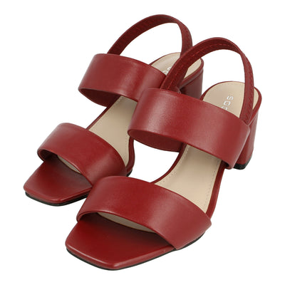 Leather Heeled Sandals with Slingback Strap